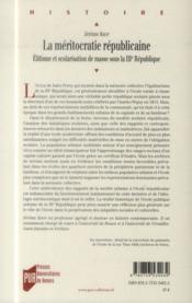 La méritocratie républicaine ; élitisme et scolarisation de masse sous la IIIe République - 4ème de couverture - Format classique