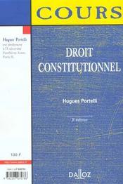 Droit Constitutionnel ; 3e Edition - 4ème de couverture - Format classique