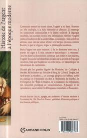 Histoire de l'argent à l'époque moderne ; de la Renaissance à la Révolution - 4ème de couverture - Format classique