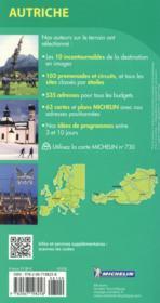 Le Guide Vert ; Autriche - 4ème de couverture - Format classique