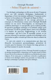 Selon l'esprit de saintete - genese d'une theologie systematique - 4ème de couverture - Format classique