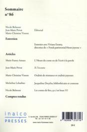 Cahiers de littérature orale N.86 ; l'heure du conte - 4ème de couverture - Format classique