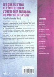 Le conseil d'état et l'évolution de l'outre-mer français du XVII siècle à 1962 - 4ème de couverture - Format classique