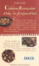 Cuisine francaise d'hier et d'aujourd'hui - 4ème de couverture - Format classique