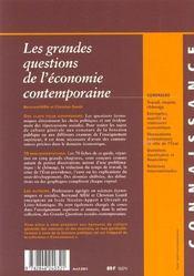 Les Grandes Questions De L'Economie Contemporaine ; Edition 2001 - 4ème de couverture - Format classique