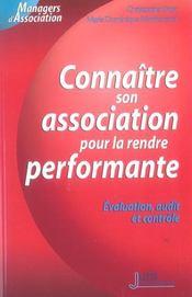 Connaitre son association pour la rendre performante. evaluation, audit et controle - 1ere edition (1re édition) - Intérieur - Format classique