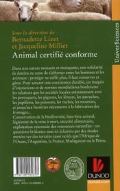 Animal certifié conforme ; déchiffrer nos relations avec le vivant - 4ème de couverture - Format classique