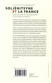 Soljénitsyne et la France ; une oeuvre et un message toujours vivants - 4ème de couverture - Format classique