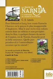 Le monde de Narnia t.5 ; l'odyssée du passeur d'Aurore - 4ème de couverture - Format classique