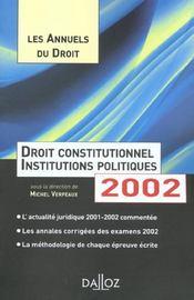 Droit Constitut 2002 Annuels Droit - Intérieur - Format classique