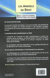 Droit Constitut 2002 Annuels Droit - 4ème de couverture - Format classique