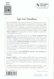 Agir Avec Proudhon - 4ème de couverture - Format classique