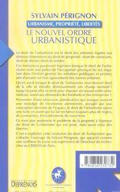 Le nouvel ordre urbanistique - 4ème de couverture - Format classique