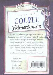 Pour Un Couple Extraordinaire - 4ème de couverture - Format classique