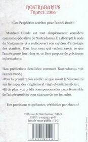Nostradamus france 2006 - 4ème de couverture - Format classique