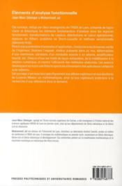 Éléments d'analyse fonctionnelle ; fondements et applications aux sciences de l'ingénieur - 4ème de couverture - Format classique