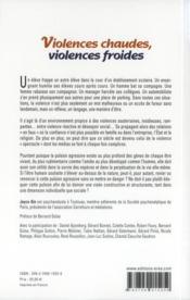Violences chaudes, violences froides - 4ème de couverture - Format classique