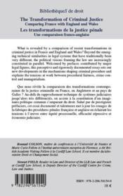 Les transformations de la justice pénale ; une comparaison franco-anglaise - 4ème de couverture - Format classique