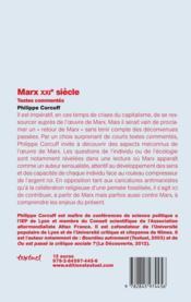 Marx XXIe siècle ; textes commentés - 4ème de couverture - Format classique