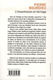 Pierre Bourdieu ; l'insoumission en héritage - 4ème de couverture - Format classique