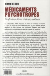 Médicaments psychotropes ; confessions d'une visiteuse médicale - 4ème de couverture - Format classique