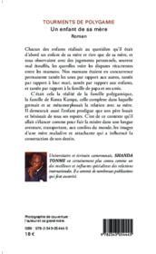 Tourments de la polygamie un enfant de sa mere roman - 4ème de couverture - Format classique