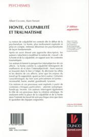 Honte, culpabilité et traumatisme (2e édition) - 4ème de couverture - Format classique