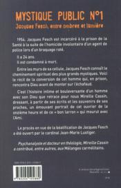 Mystique public n°1 ; Jacques Fesch, entre ombre et lumière - 4ème de couverture - Format classique