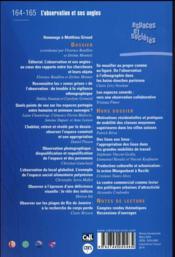 Revue espaces et sociétés N.164/5 ; l'observation et ses angles - 4ème de couverture - Format classique