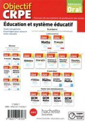 Objectif CRPE ; éducation et système éducatif ; 50 fiches synthétiques (édition 2021) - 4ème de couverture - Format classique