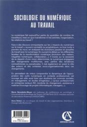 Sociologie du numérique au travail - 4ème de couverture - Format classique