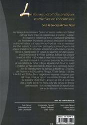 Le nouveau droit des pratiques restrictives de concurrence - 4ème de couverture - Format classique