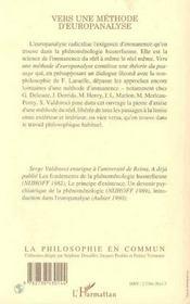 Vers Une Methode D'Europanalyse - 4ème de couverture - Format classique