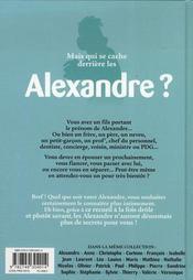 L'encyclopédie des prénoms t.23 ; Alexandre - 4ème de couverture - Format classique