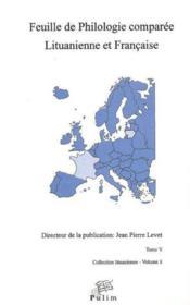 Feuille de philologie comparée lituanienne et française t.5 - Couverture - Format classique