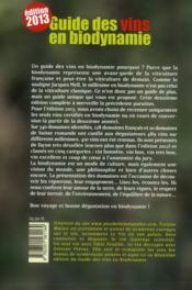 Guides des vins en biodynamie (édition 2013) - 4ème de couverture - Format classique