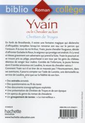 Yvain ou le chevalier au lion - 4ème de couverture - Format classique