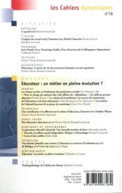 Les cahiers dynamiques N.78 ; éducateur : un métier en pleine évolution ? - 4ème de couverture - Format classique