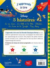 5 histoires ; le roi Lion ; la Belle et la Bête ; Aladdin ; le Livre de la Jungle ; Toy Story - 4ème de couverture - Format classique