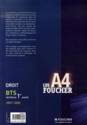 Droit ; Bts 1ere Annee (edition 2007-2008) - 4ème de couverture - Format classique