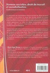 Normes sociales, droit du travail et mondialisation ; confrontations et mutations - 4ème de couverture - Format classique