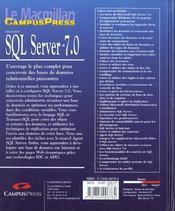 Microsoft Sql Server 7.0 - 4ème de couverture - Format classique