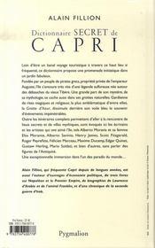 Dictionnaire secret de capri - 4ème de couverture - Format classique
