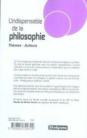 L'indispensable de la philosophie - 4ème de couverture - Format classique