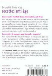 Le petit livre de - recettes anti-age - 4ème de couverture - Format classique