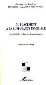 Du placement à la suppléance familiale ; actualité des recherches internationales - Couverture - Format classique
