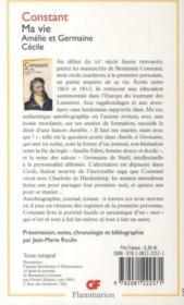Ma vie ; Amélie et Germaine ; Cécile - 4ème de couverture - Format classique