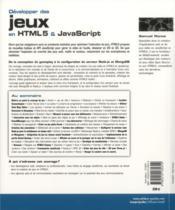 Développer des jeux en html5 et Javascript - 4ème de couverture - Format classique