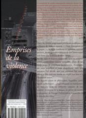 Emprises de la violence - 4ème de couverture - Format classique