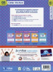 Cahier d'écriture ; grande section ; entraînement méthodique à l'écriture ; 5/6 ans (édition 2014) - 4ème de couverture - Format classique